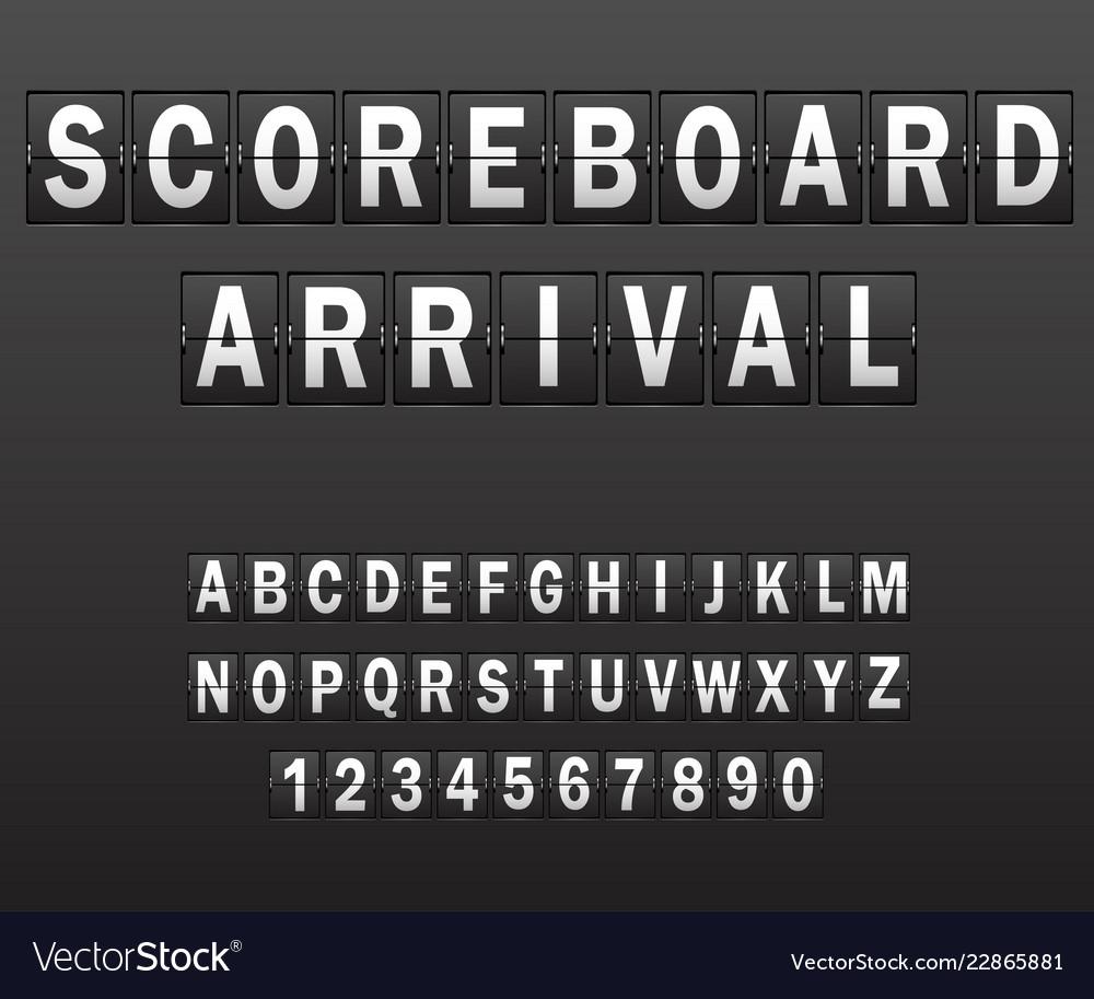 Alphabet on scoreboard set of white letters of