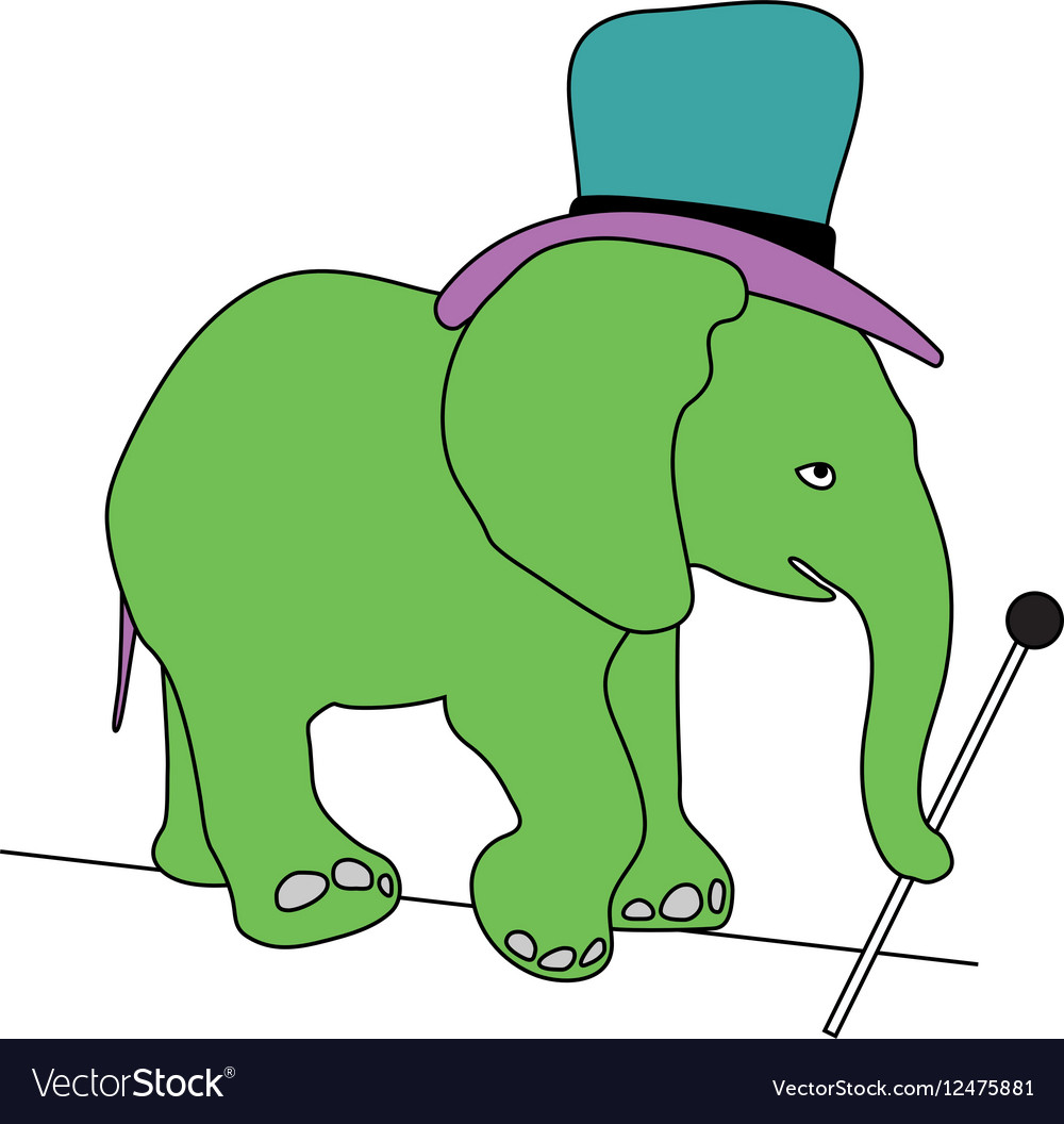 Circus elephant with stick and hat walking on wire