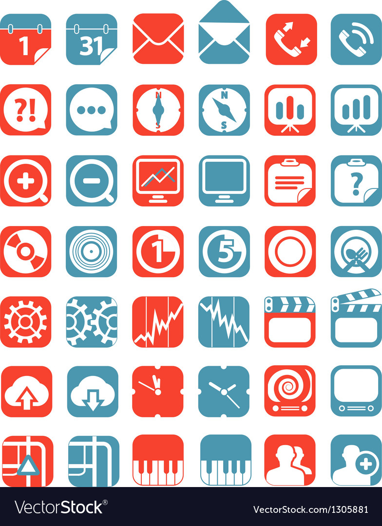 Color tablet interface icons collection