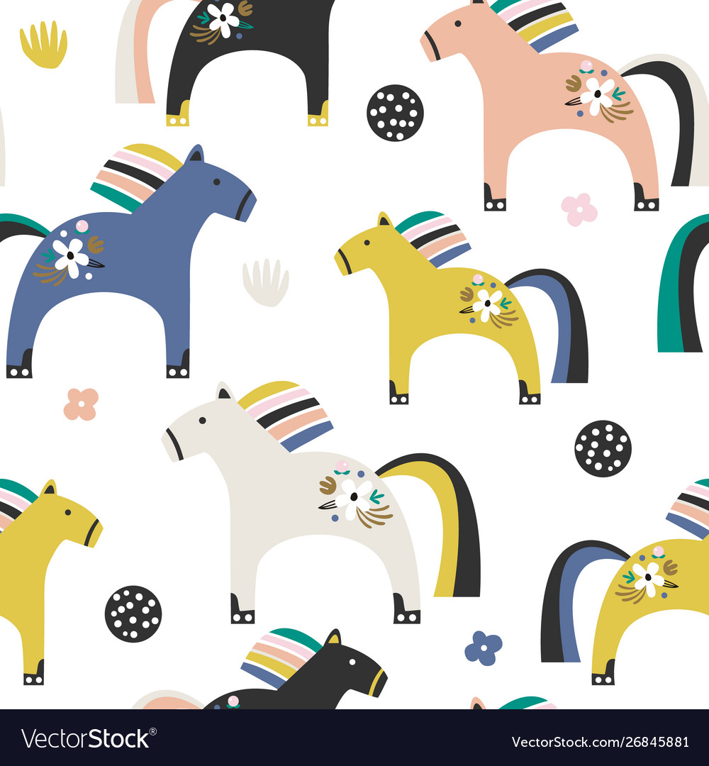 Seamless pattern with decorative wooden toy horse