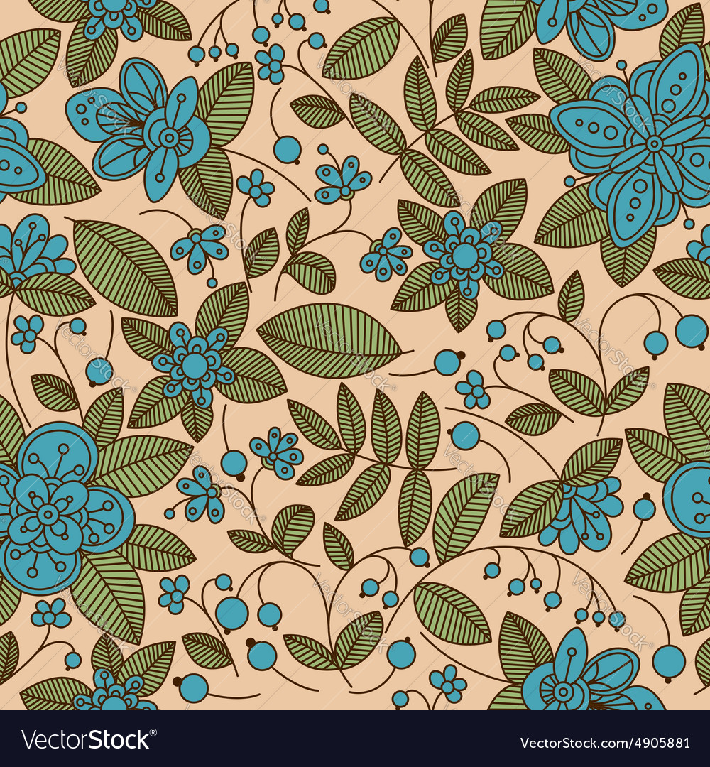 Seamless Vintage Fabric Floral Pattern Royalty Free Vector
