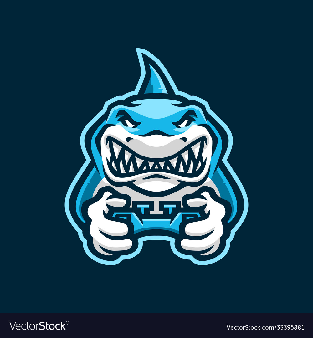 Shark gaming joy stick e sport logo icon