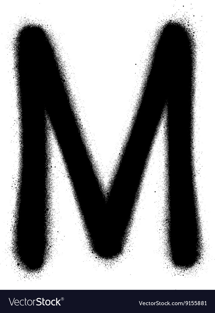 Sprayed M font graffiti in black over white