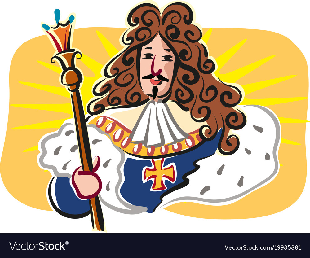 Sun King Louis Xiv King Of France Royalty Free Vector Image