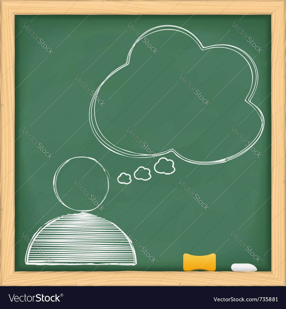 Symbol of human with speech bubble on blackboard vector image