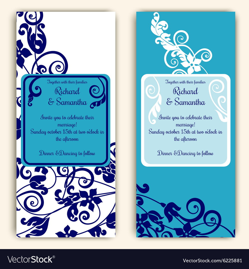 Wedding cards with blue with swirls vector image