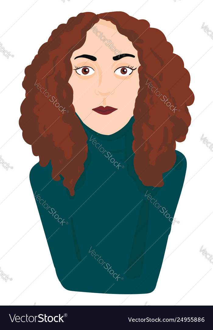 A Girl With Brown Hair Eyes And Lips Looks Cute Vector Image