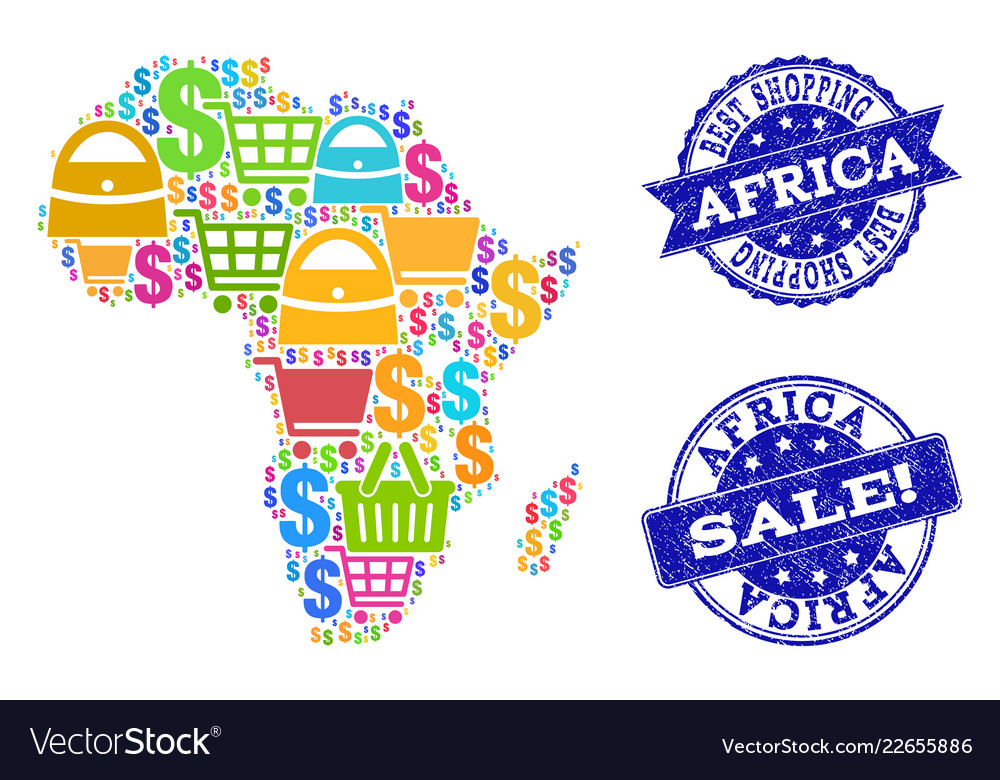 best shopping collage of mosaic map of africa and vector image