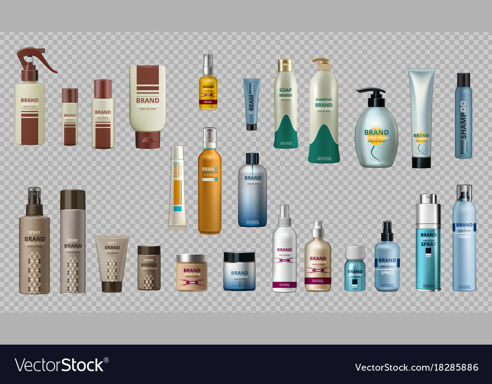 Digital realistic bottles set collection