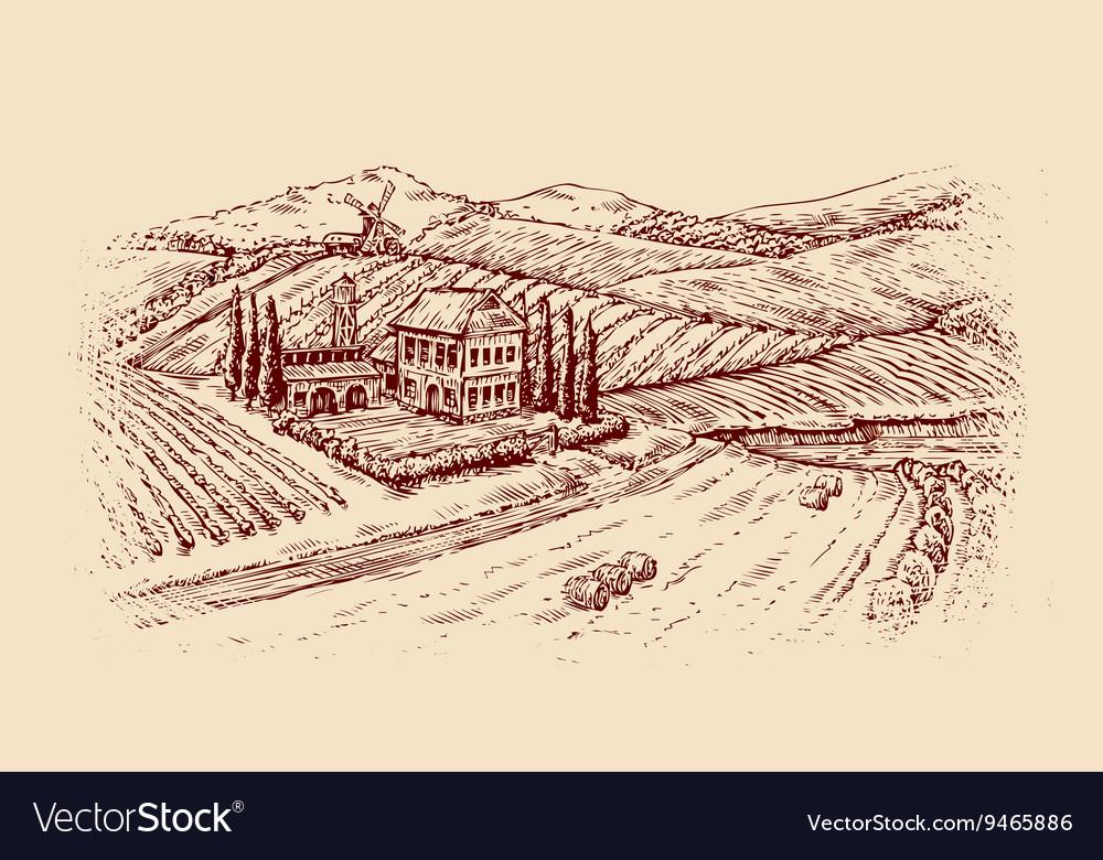 Italy Italian landscape Hand-drawn sketch