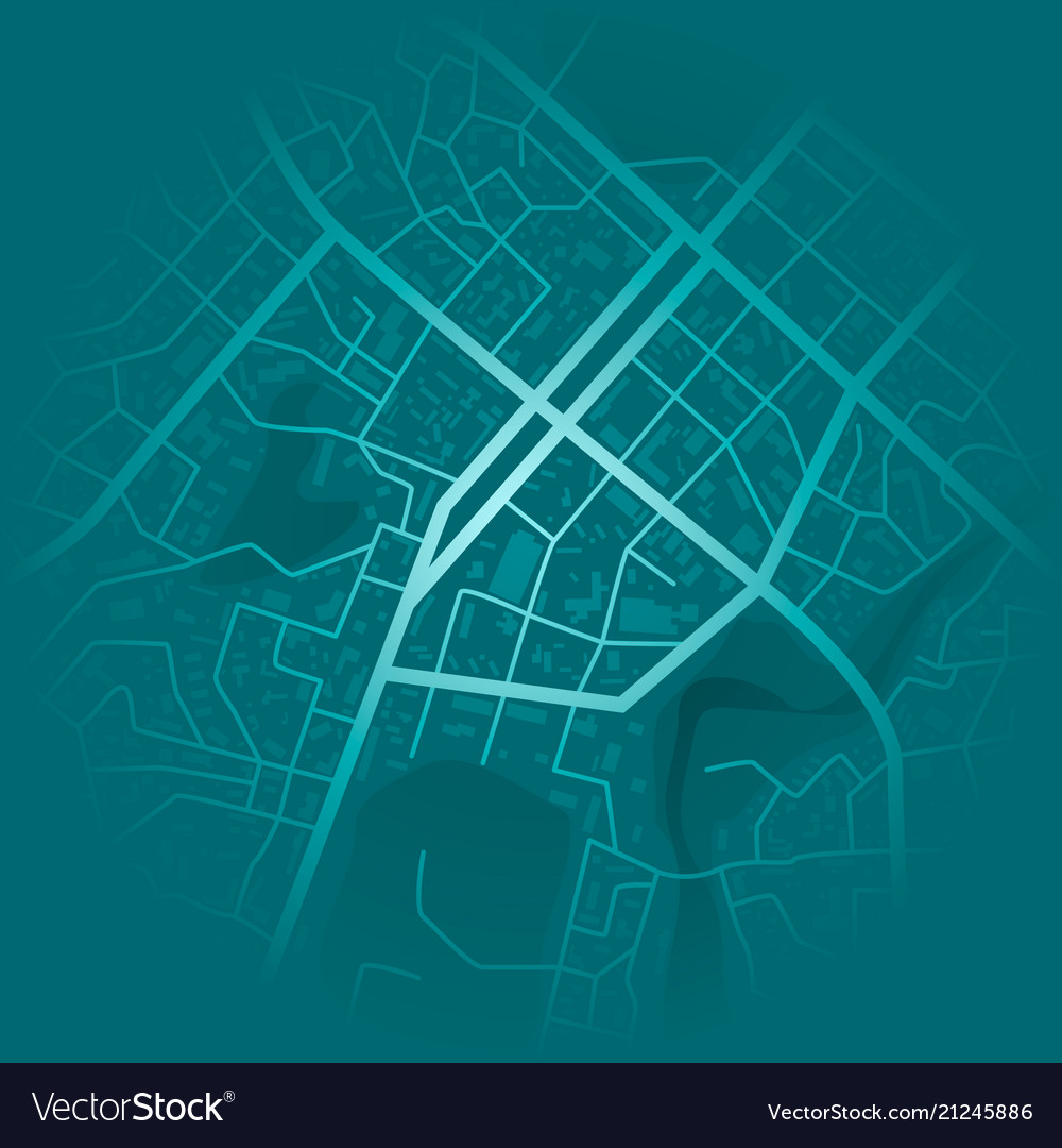 Print with town topography abstract blue city map