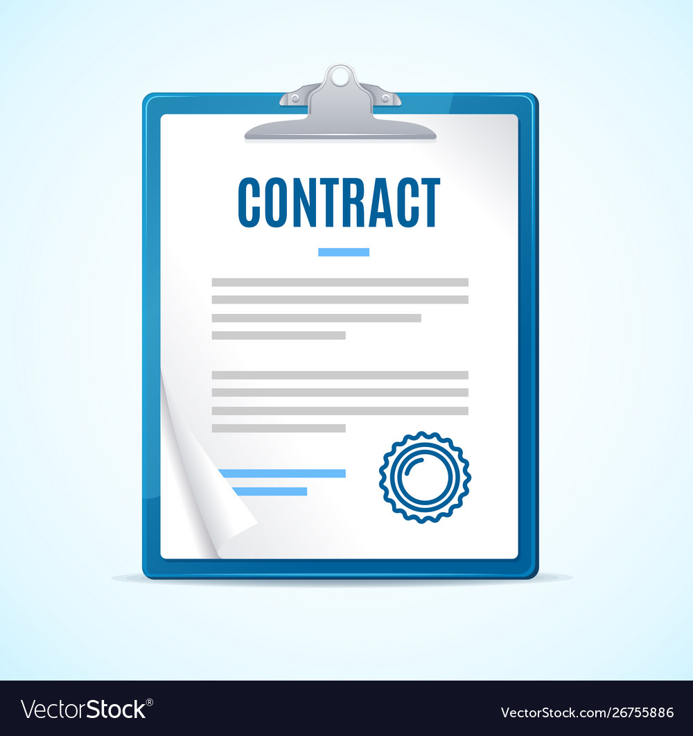 Realistic detailed 3d clipboard contract concept