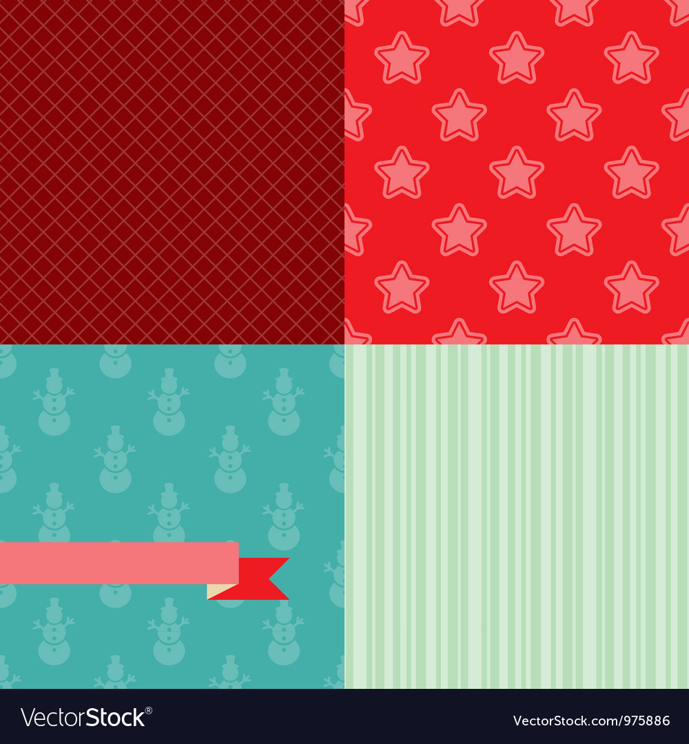 Set of 4 Christmas and New Year seamless patterns
