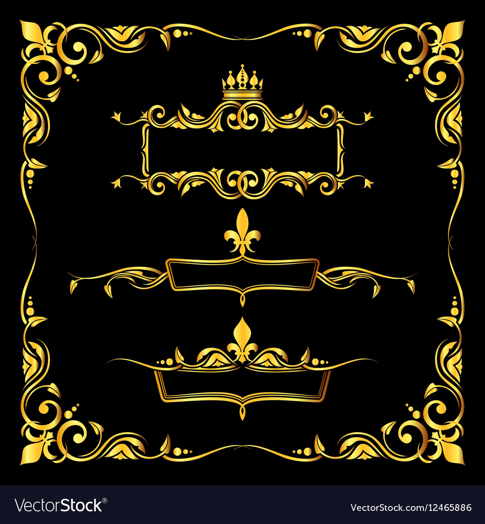 Set of ornate golden royal frames black background