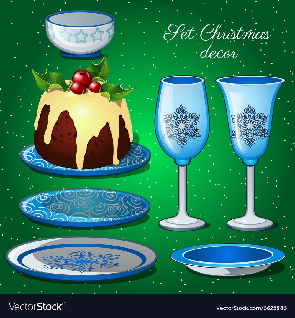 Tableware set with Christmas decor and cake