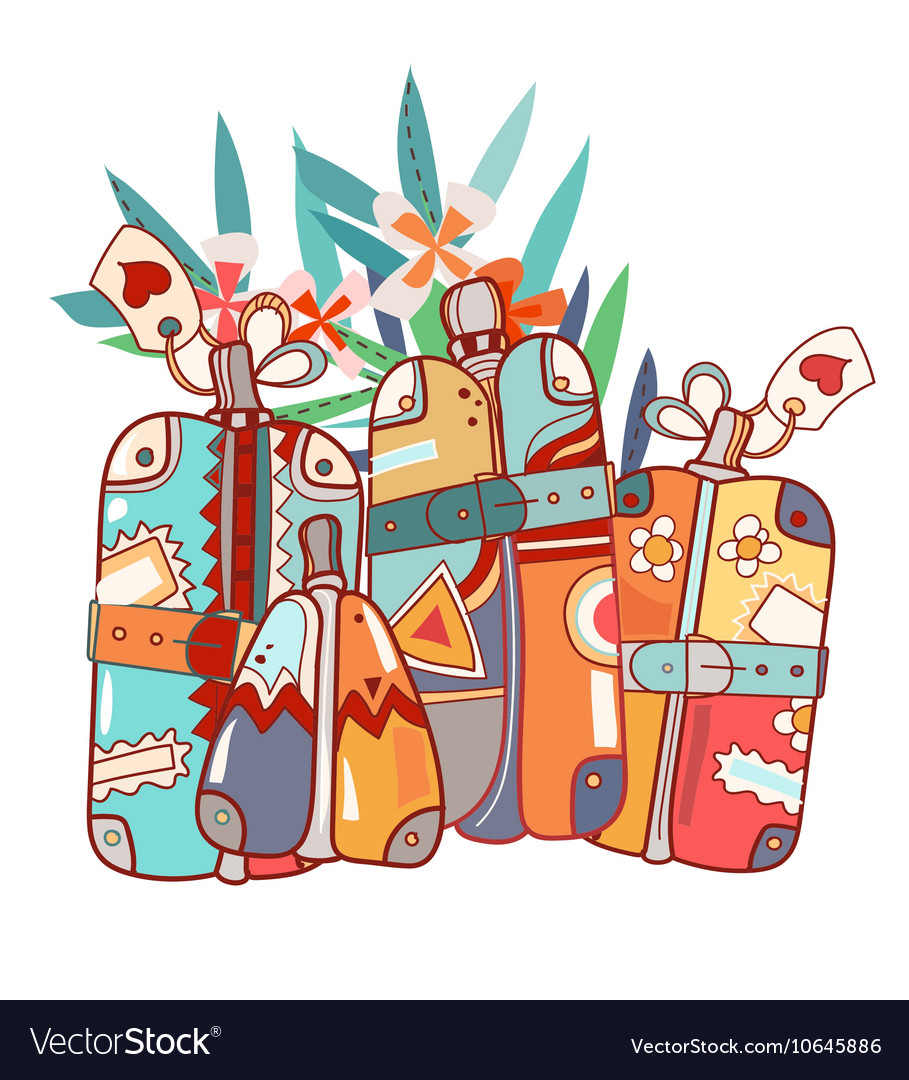 Travel Bags and Suitcases Hand Drawn