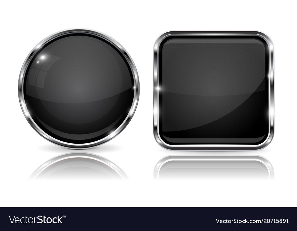 Black buttons with chrome frame 3d round and
