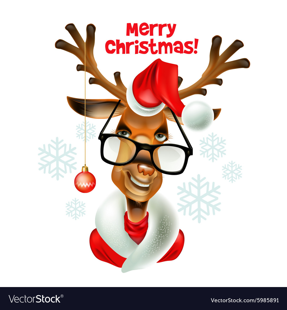 Christmas santa hipster deer