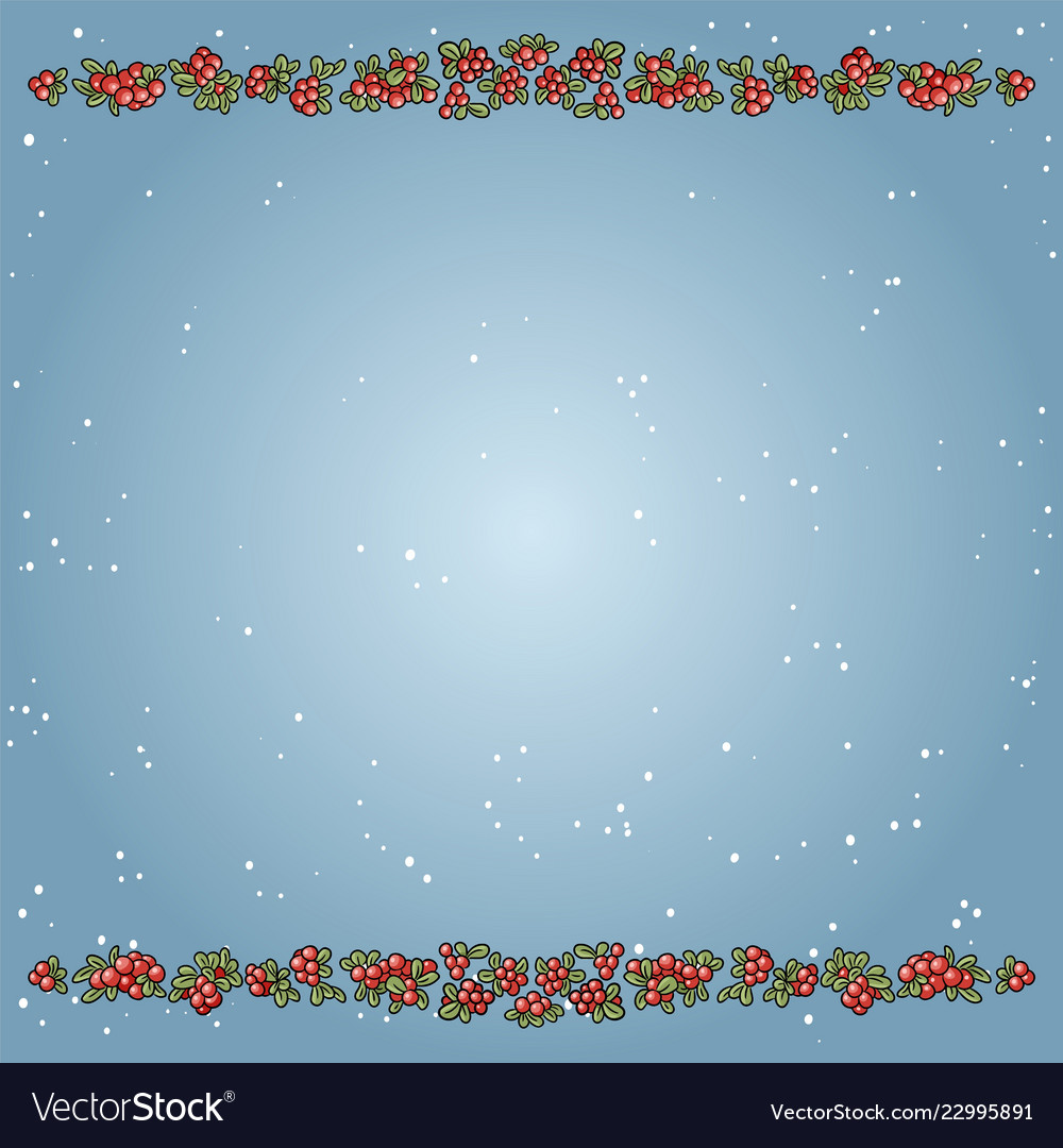 Christmas winter template with red cowberries