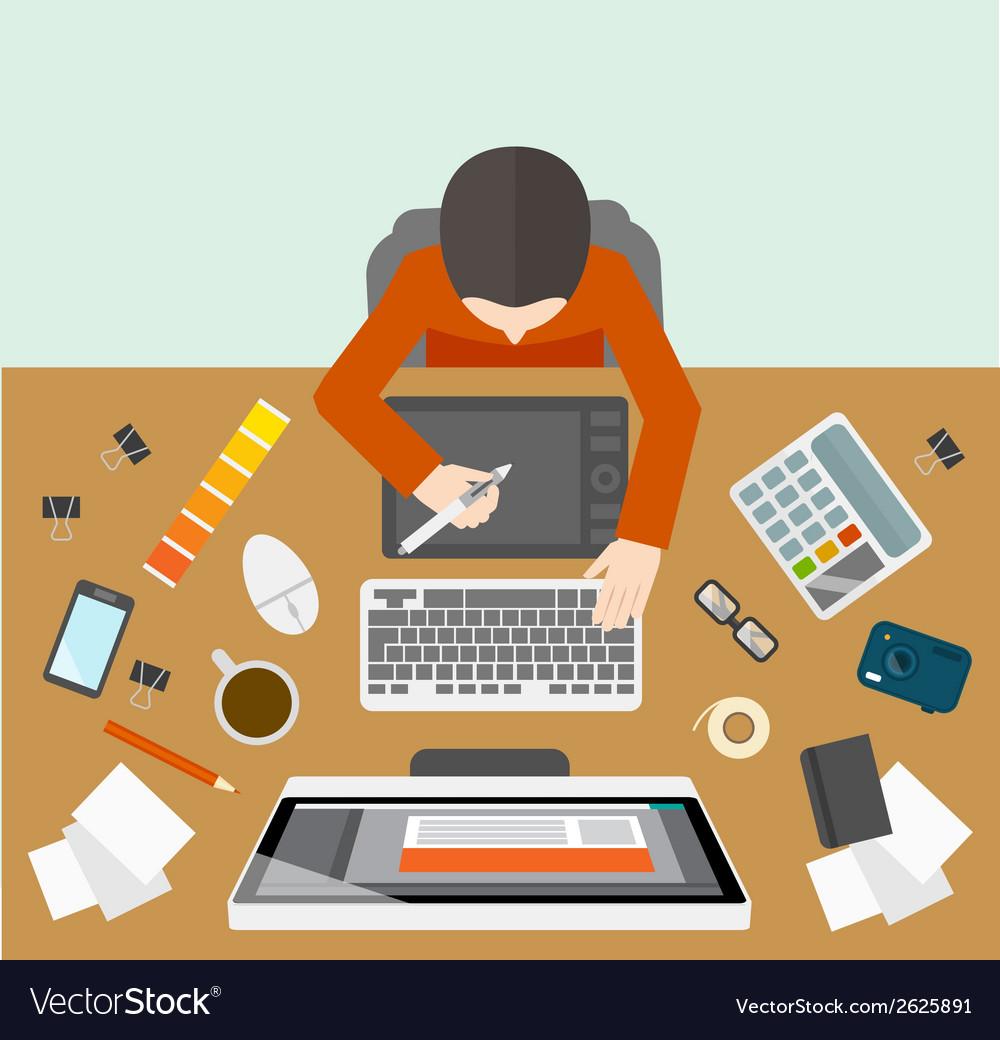 Designer management workplace vector image