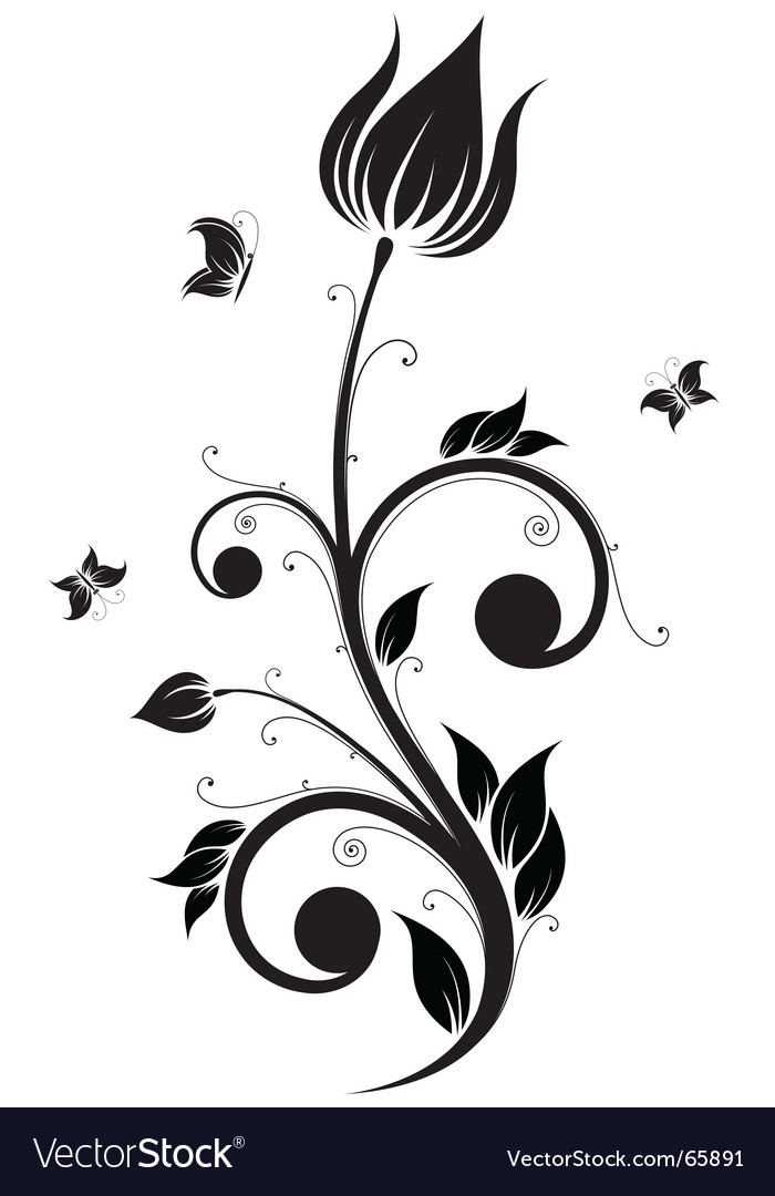 Flower scroll vector image