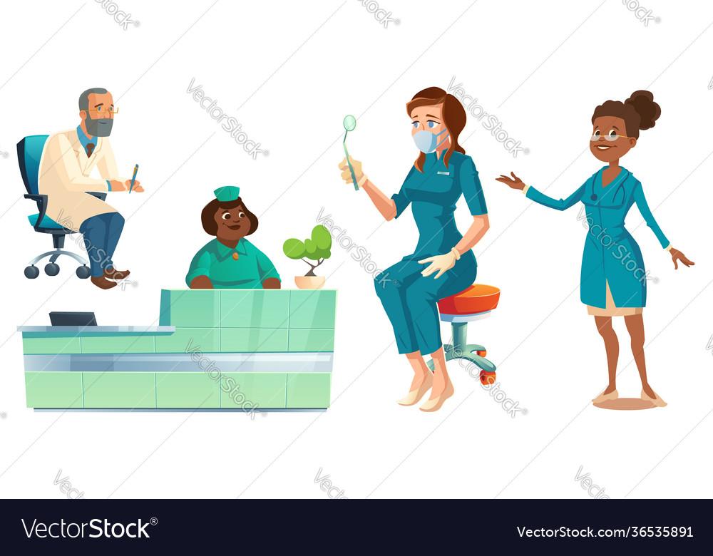Hospital healthcare staff set doctors and nurses