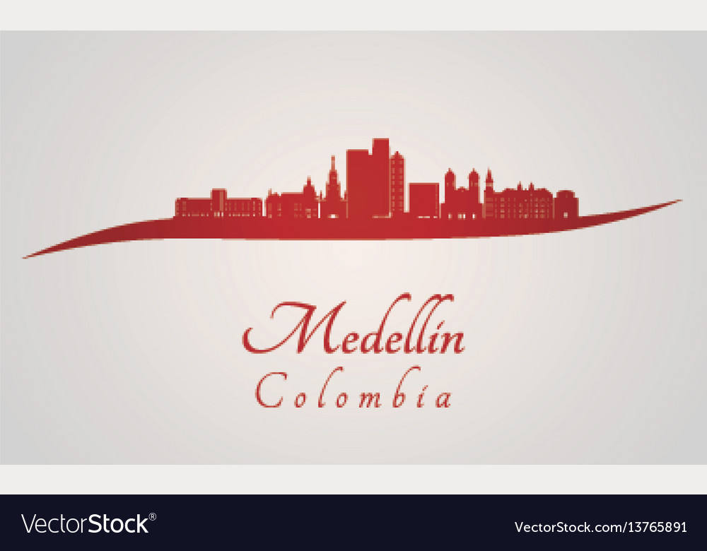Medellin skyline in red vector image