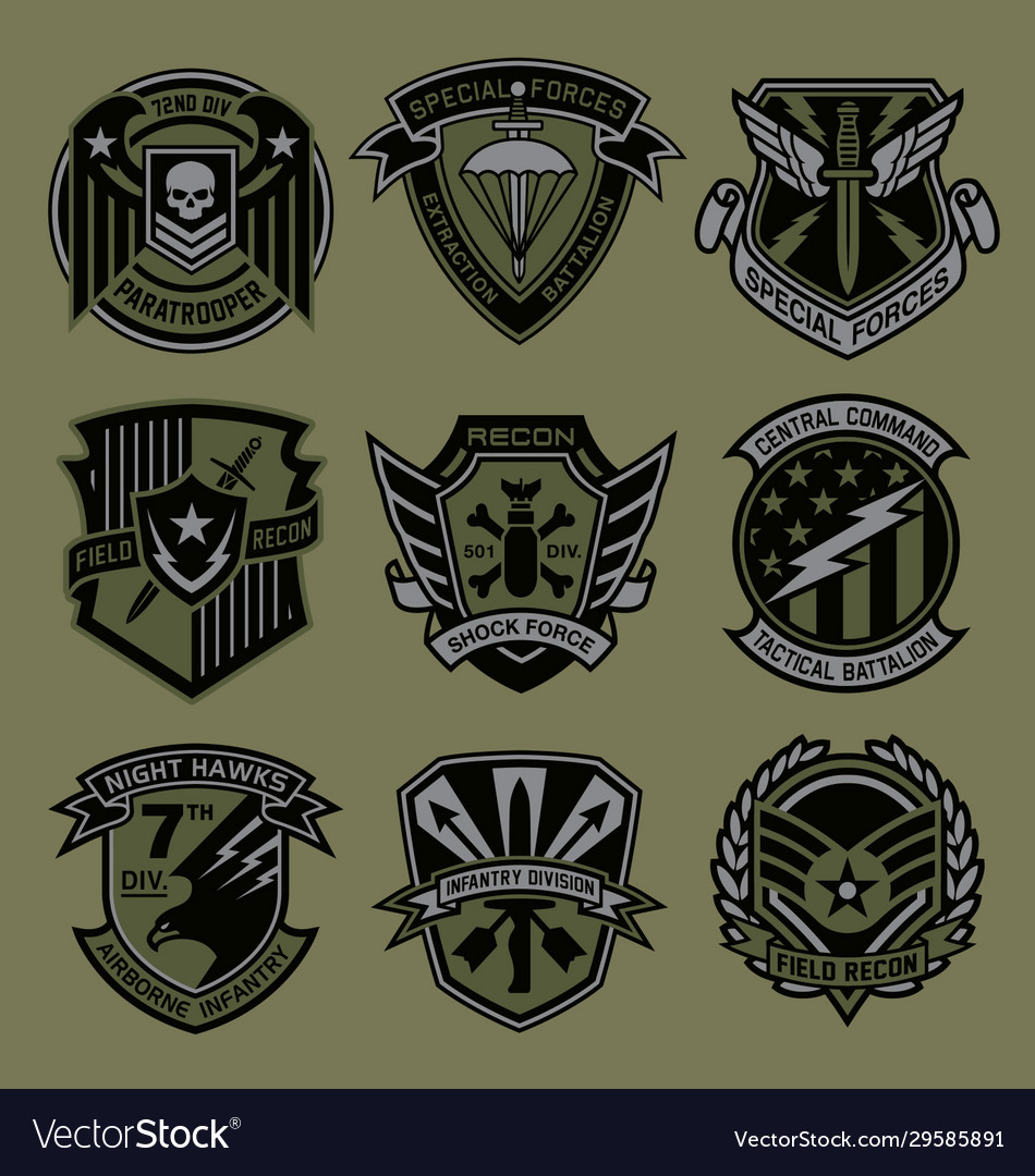 Military patch emblem badge set in army green