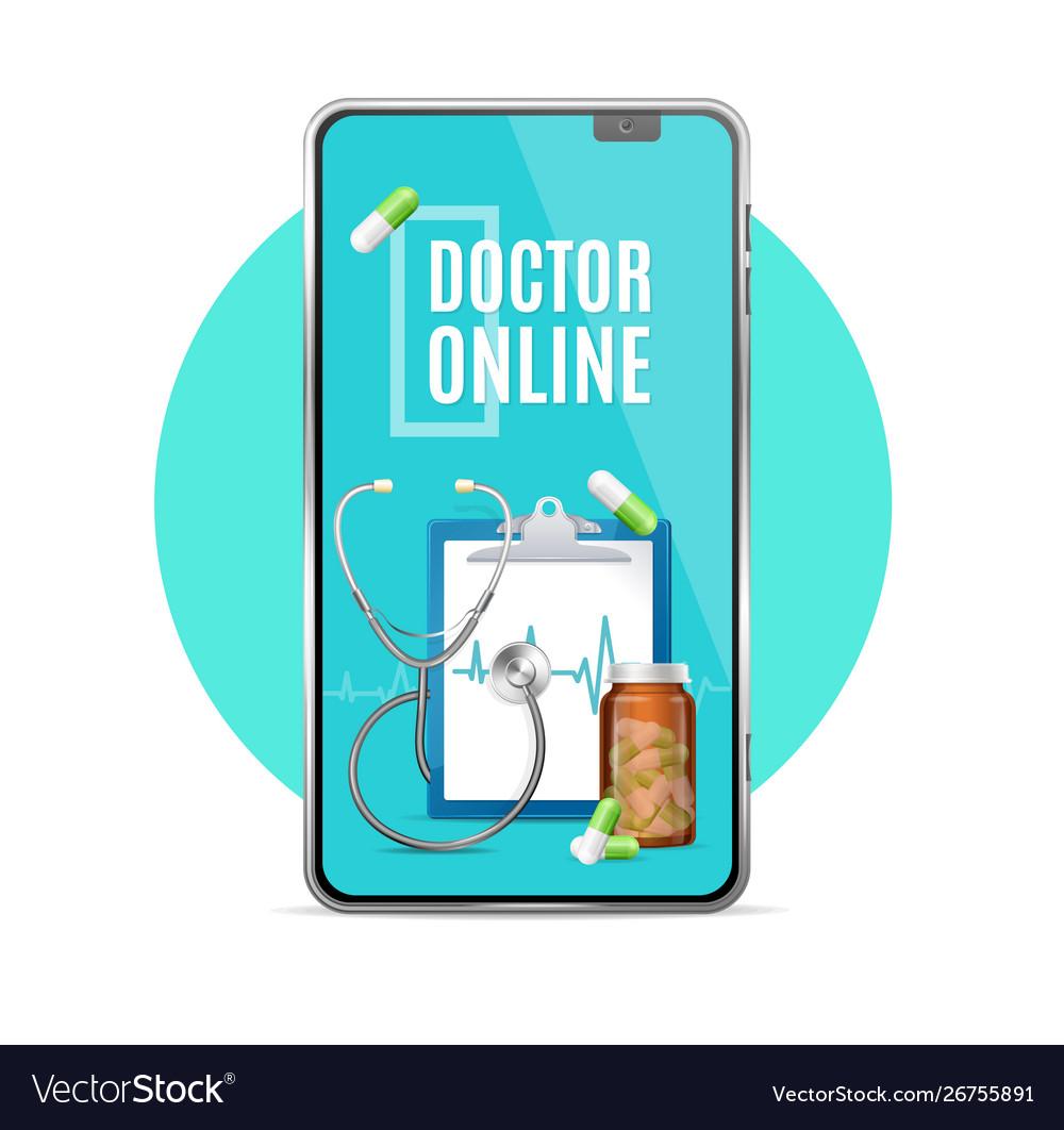 Realistic 3d detailed doctor online app concept