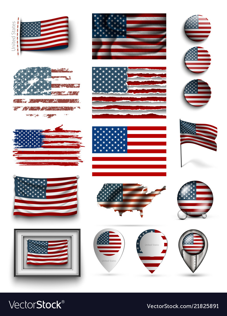 Set usa flags american collection isolated