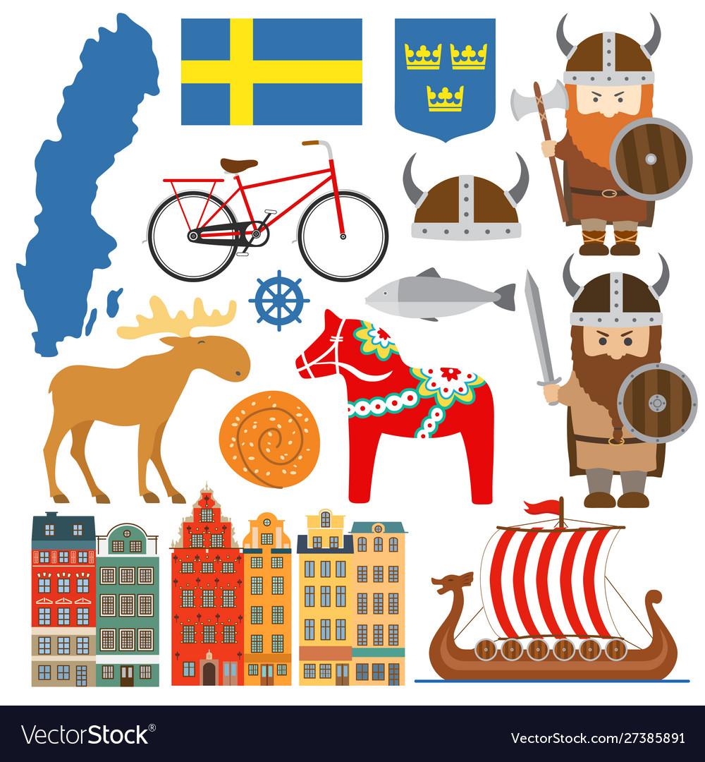 Set with design elements symbols sweden