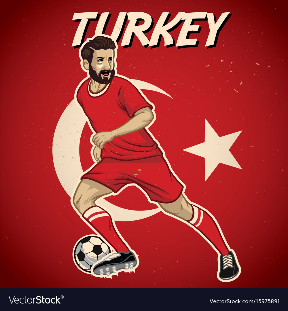 Turkey soccer player with flag background
