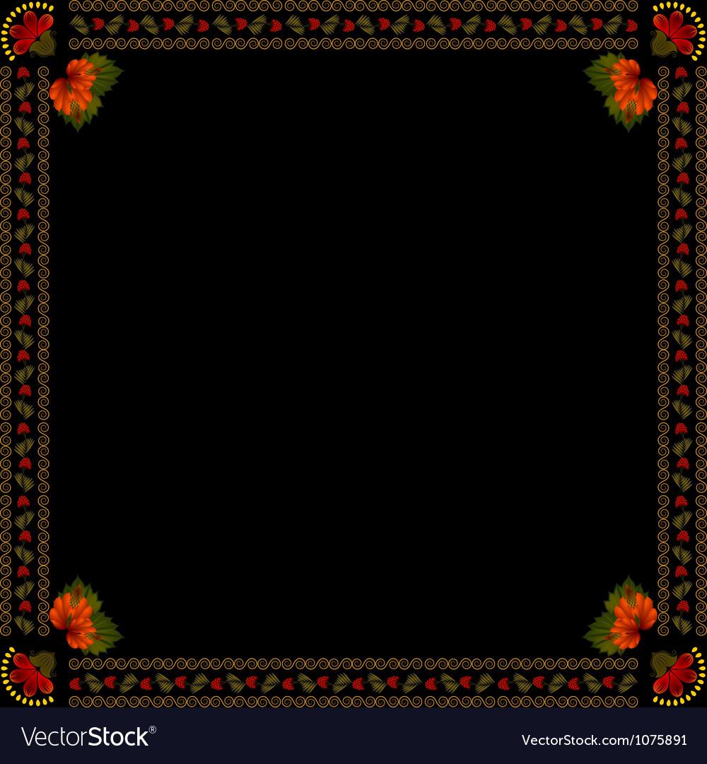 Ukrainian national floral ornament on dark backgro