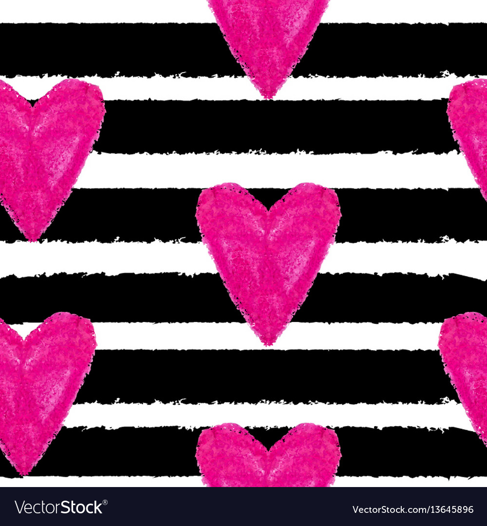 Abstract hand drawn heart love seamless pattern