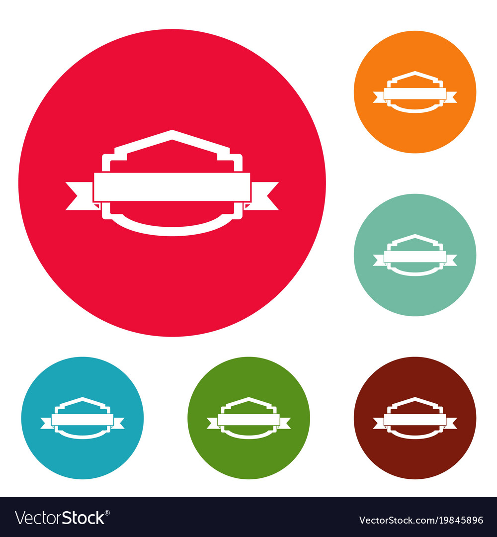 Badge banner icons circle set