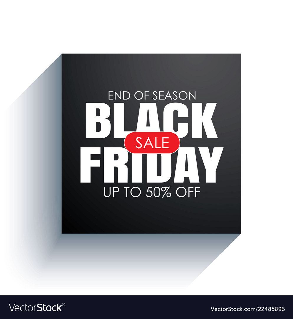 Black friday sale banner with white text on black