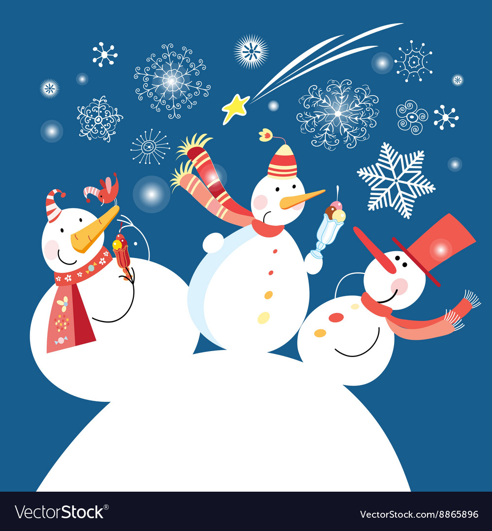 Christmas card with a cheerful snowman vector image