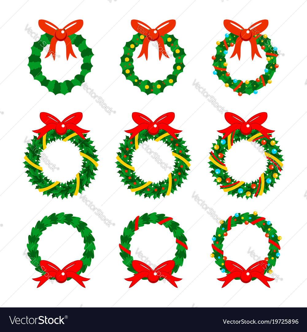 Christmas garlands icon set
