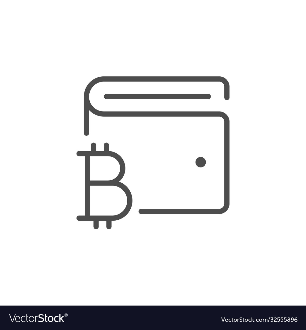 Cryptocurrency wallet line outline icon