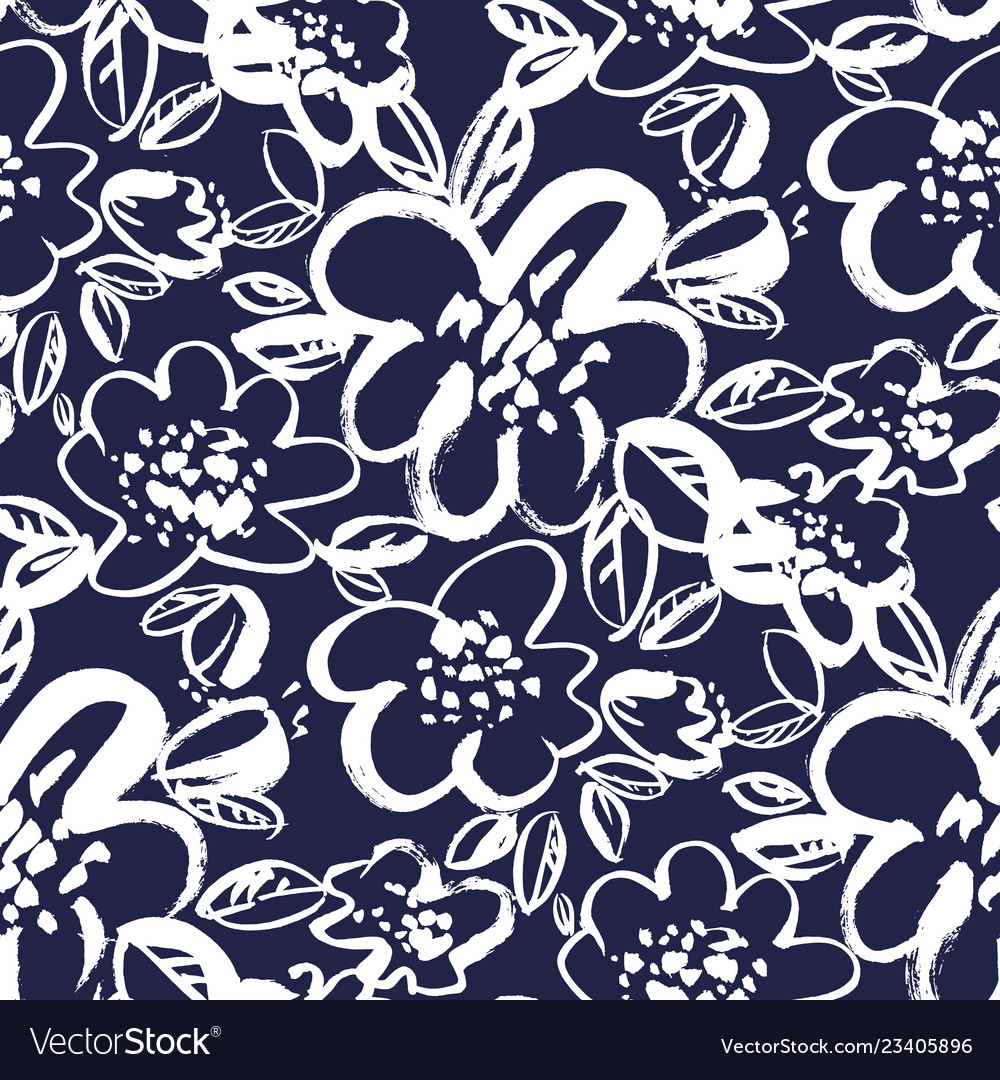 Floral blossom hand drawn seamless pattern
