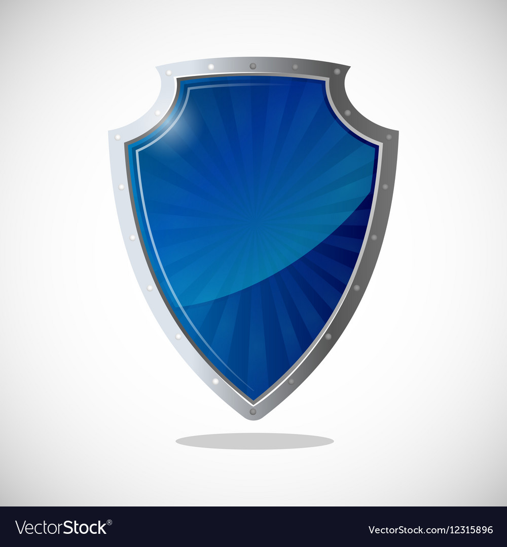 Glossy shield protection icon in blue and silver