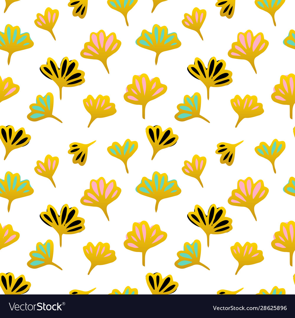 Gold flower seamless pattern
