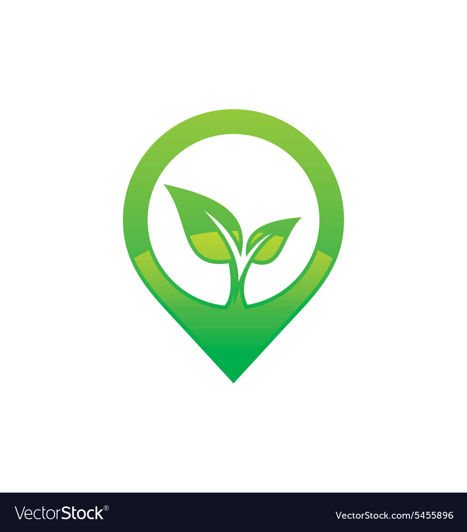 Green leaf media abstract eco logo vector image
