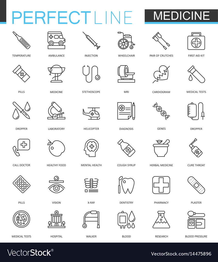 Medical and healthcare thin line web icons set