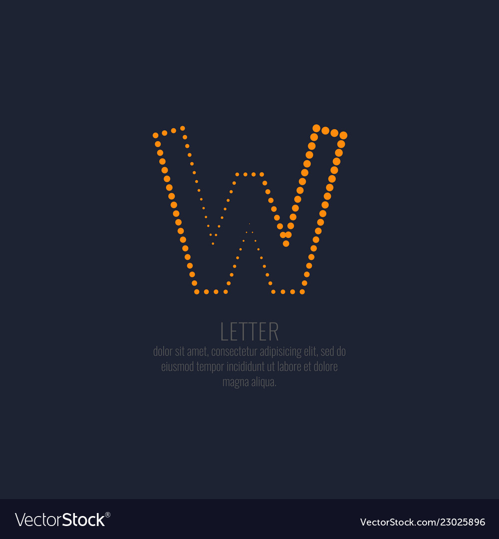 Modern dotted letter w of the latin alphabet