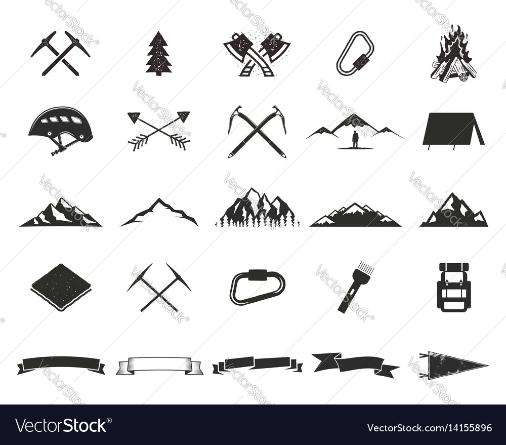 Mountain expedition silhouett icons set climb and vector image