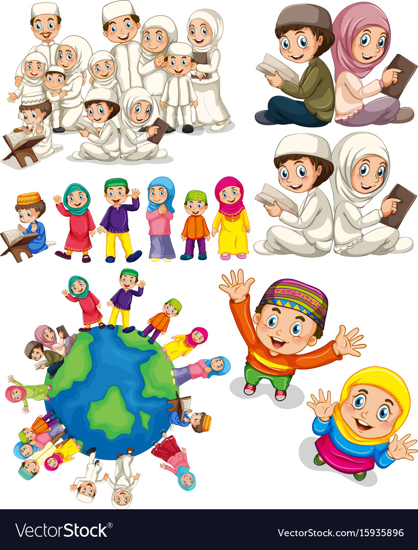 Muslim families around the world Royalty Free Vector Image