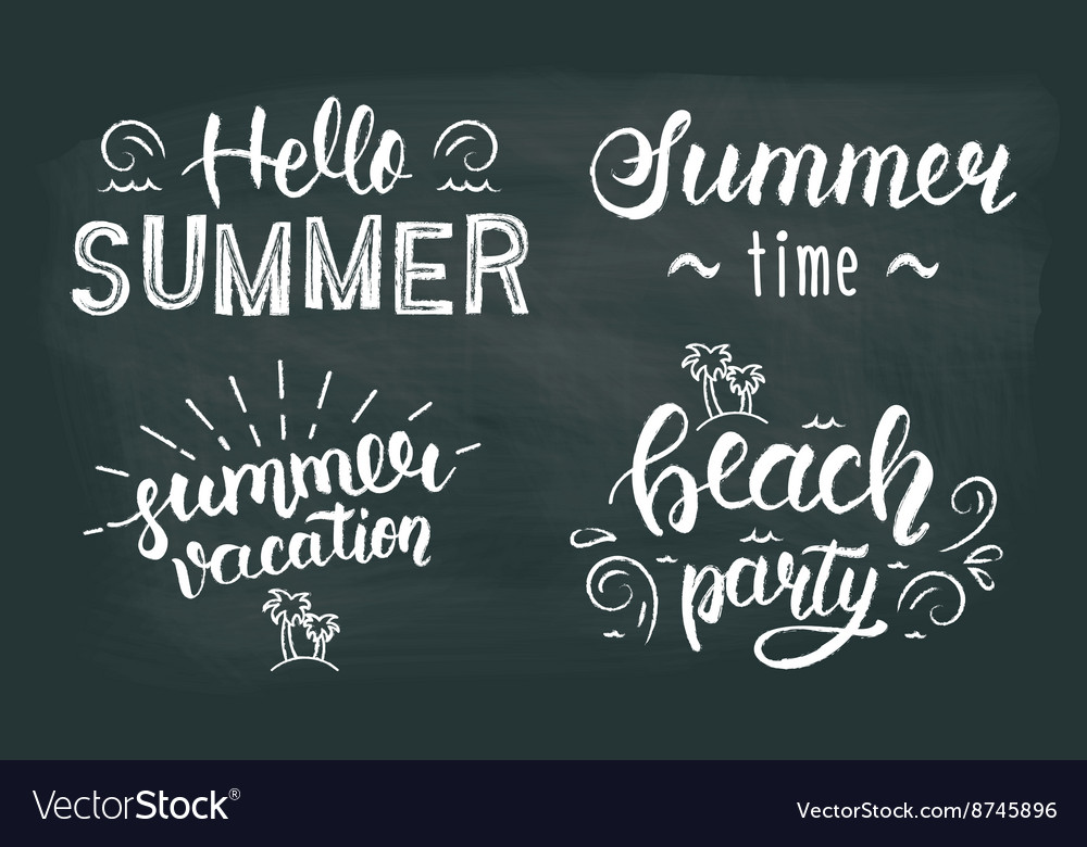 Summer chalk hand lettering set Summer chalk