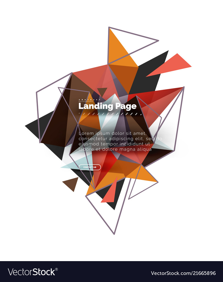 Triangular design abstract background landing vector