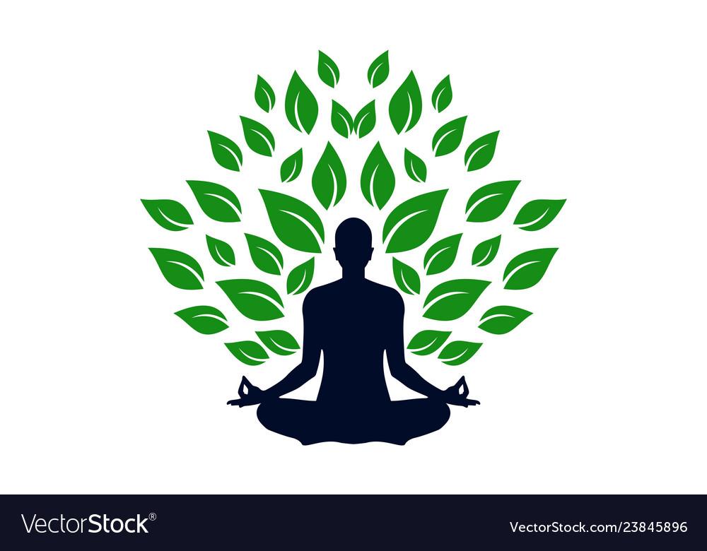 Yoga Meditation Concept Logo Icon Royalty Free Vector Image